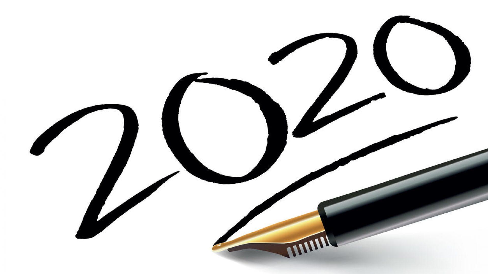 vœux 2020 inscrit sur un papier blanc à l'encre noir avec un stylo plume et souligné comme une signature